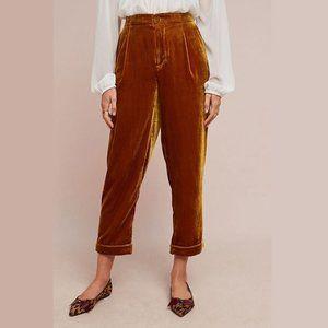 NEW Anthro ett:twa Colia Gold Velvet Cuffed Pants